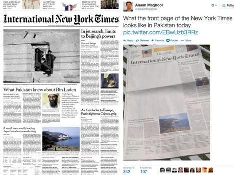 Pakistan: La une du «International New York Times» censurée | DocPresseESJ | Scoop.it