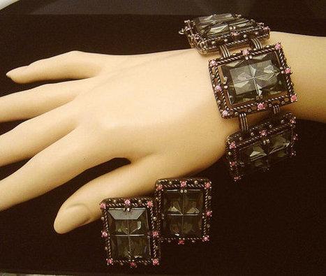 Vintage Sarah Coventry Midnight Magic Bracelet & Earrings   vintage jewelry   Scoop.it
