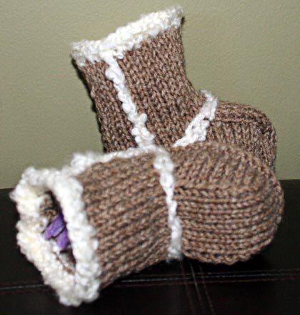 Knitting For Babies Free Patterns : Baby Booties - Ugg Boots Knitting Pattern Bab...