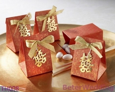 12pcs TH008 Double Happiness Wedding Candy Bag Bridal Shower | Wedding Favor Boxes | Scoop.it