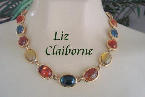 Colorful Liz Claiborne Necklace / Faux Agate Cabochon Lucite / Designer Signed Vintage Jewelry / CIJ Sale 20% Off Coupon Code (CIJSALE1) | Vintage and Antique Jewelry & Fashion | Scoop.it