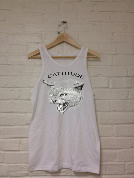 Cattitude Tank Top White Unisex   Mindfulwear Collection   Scoop.it