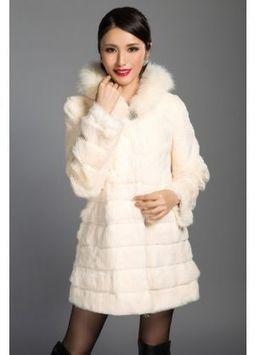 Women's Furs :: Fur Coats :: Rabbit :: Horizontal Rabbit Coat with Fox Fur Trim Hood & Rhinestone Closure - | furs | Scoop.it
