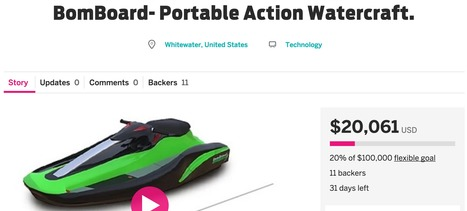 BomBoard- Portable Action Watercraft. | Crowdfunding PR Campaigns | Scoop.it