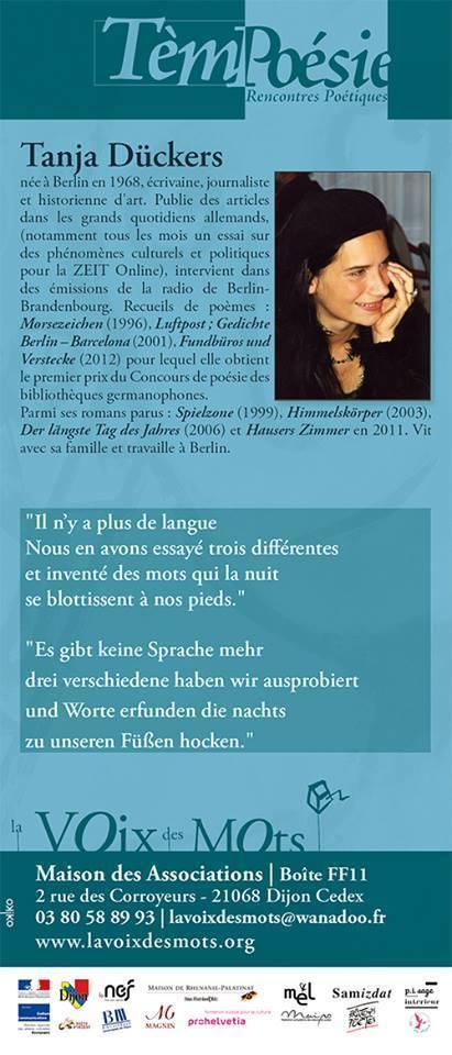 Jeudi 11 février 2016 :: rencontre-lecture avec Tanja Dückers (Tèmpoésie, Dijon) | TdF  |   Poésie contemporaine | Scoop.it