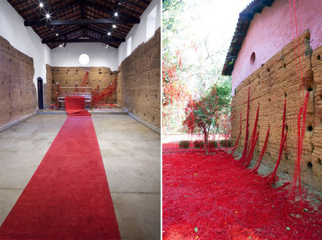 A Mass of Tangled #Red #Yarn Unravels from a #Loom to Overtake a #Brazilian #Chapel #art #installation | Luby Art | Scoop.it