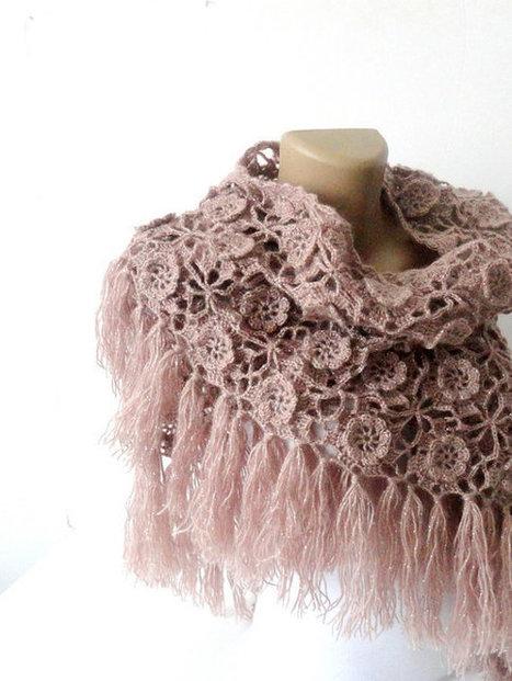 Tea rose crochet shawl, scarf , winter trends , winter accessories ,women ,wrap ,gift ideas, hand crocheted shawl , scarves | Winter Fashions | Scoop.it