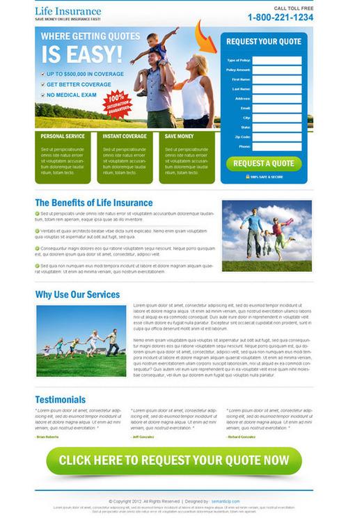 insurance landing page templates  Insurance landing page design for health insurance, life insurance ...