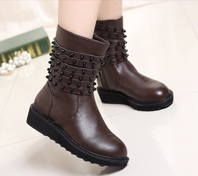 Wholesale Women werstern boots thick heel rivets shoes CZ-2483 dark-brown - Lovely Fashion | Chic summer streetstyle(sandals) | Scoop.it