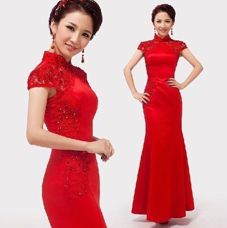 Chinese Mermaid Floor-length Red Cheongsam Wedding Dresses | Cheongsam | Scoop.it