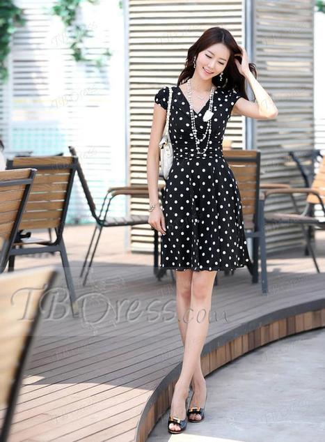 $ 17.09 Luxurious Polka Dots Silk Plus Size Day Dress | fashion | Scoop.it