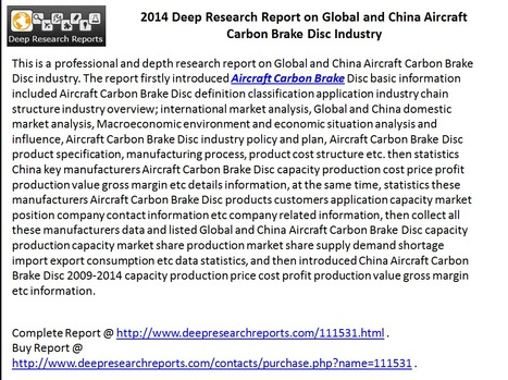 Aircraft Carbon Brake Disc Industry 2014 across China & World – Market Landscape & Trends | Marketing Strategies & Research | Scoop.it