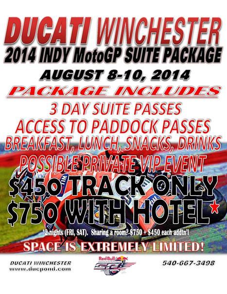 Ducati Winchester IndyGP Private Gasoline Alley Suite Offer | Desmopro News | Scoop.it