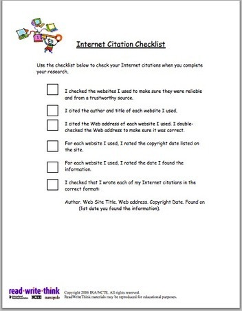 Internet Citation Checklist for Students ~ Educational Technology and Mobile Learning | digital citizenship | Scoop.it