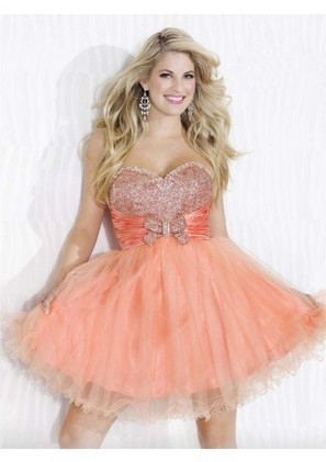 A Line Sweetheart Mini Orange Tulle Homecoming/Cocktail Dress Adori0001 - Cocktail Dresses - Special Occasion Dresses | mode | Scoop.it