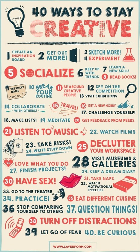 40 Ways to Stay Creative - Infographic - Layerform Design Magazine | xposing world of Photography & Design | Scoop.it