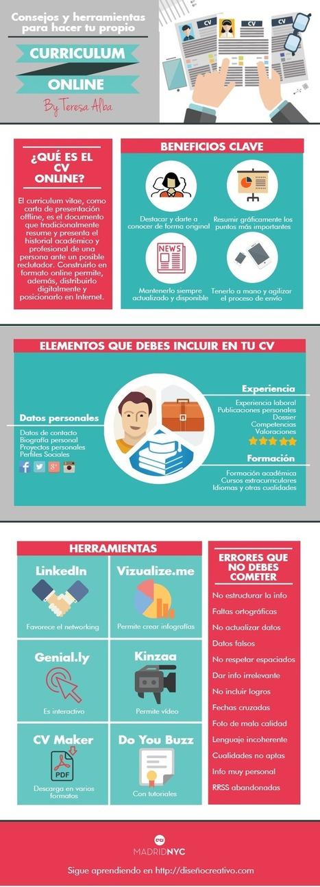 Consejos y herramientas para hacer tu Curriculum Online #infografia #empleo | PLE-PLN | Scoop.it