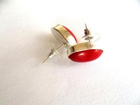 Sterling Silver Gemstone Ellipse Earrings, Stud Earrings, Handmade Sterling Silver, Coral Jewelry, Pure Silver , Red Earrings, Gift, Women | My Jewelrys | Scoop.it