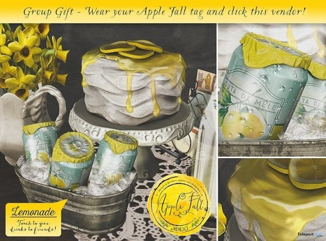 Lemonade Bucket with Drink Giver and Cake 4000 Members Group Gift by Apple Fall | Teleport Hub - Second Life Freebies | Second Life Freebies | Scoop.it
