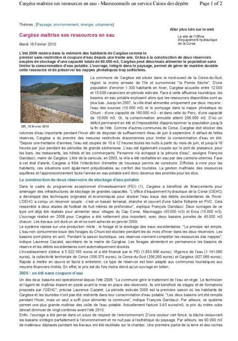 Article Bâche Mairie Conseil | Revue de Presse de Cargèse | Scoop.it