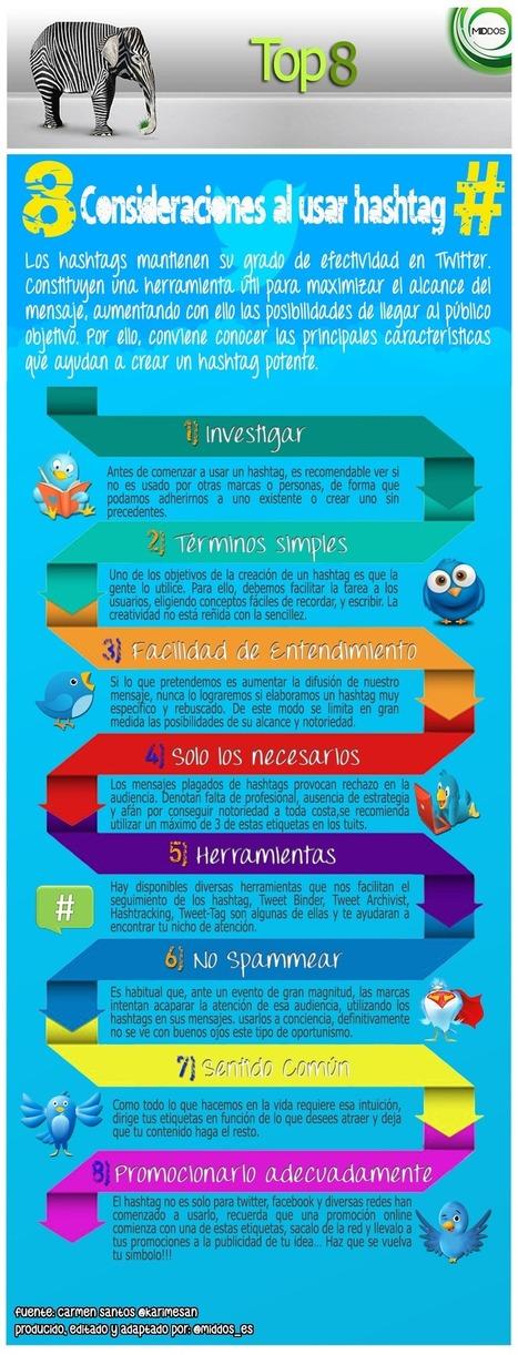 8 consideraciones para usar hashtags #infografia #infographic #socialmedia   Redes Sociales_aal66   Scoop.it