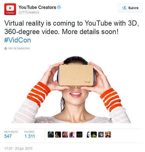 Réalité virtuelle : bientôt des vidéos immersives en relief sur Youtube - Actualité sur 3DVF.com. | Clic France | Scoop.it