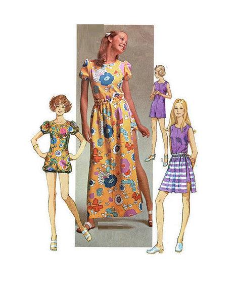 Simplicity 1970s Retro Sewing 9288 Pattern Boho Hippie Maxi Dress Romper Bodysuit Skirt Size 12 Bust 34 Disco Fashion | Vintage Sewing Patterns | Scoop.it