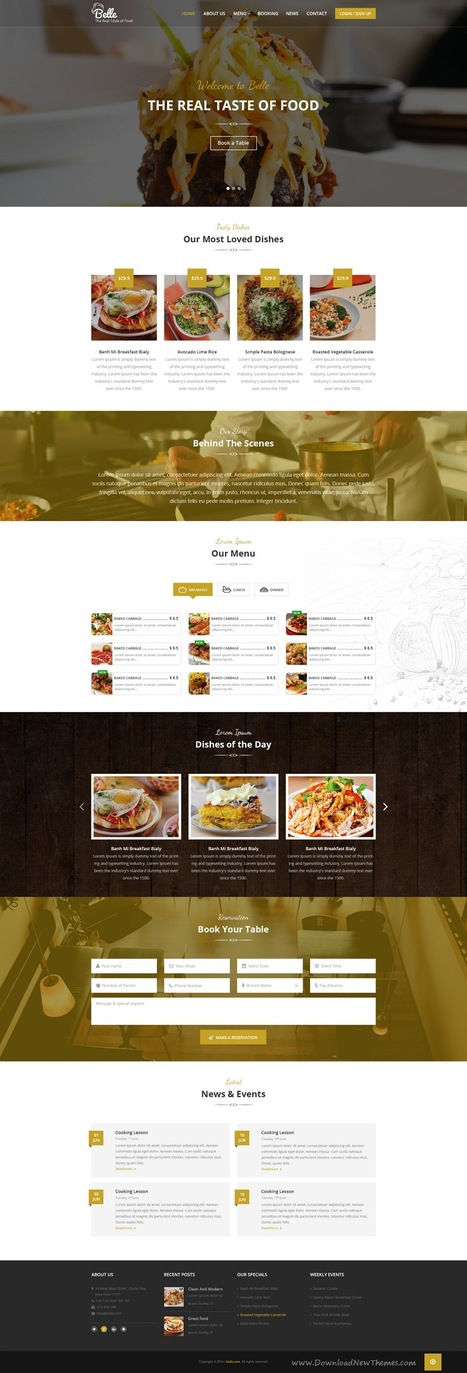 Belle Best Food & Restaurant PSD Template Download | Creative Themes and Template Download | Scoop.it