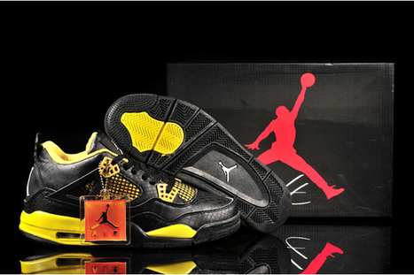 "Black/Yellow Python Nike Jordan 4s - ""Thunder"" 
