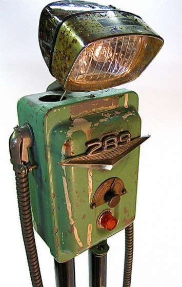 """even robot's get the blues"" found object metal art junk sculpture 