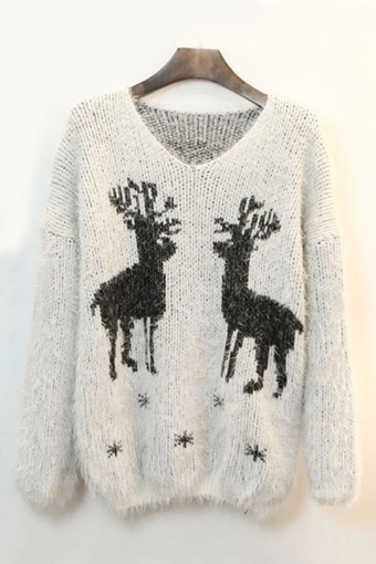 Reindeer Graphic Mohair Sweater - OASAP.com | Sweaters and Cardigans | Scoop.it