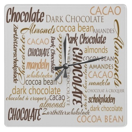 Chocolate, Almonds and Dark Chocolate Word Cloud Designed Wall Clocks | Z Artwork | Scoop.it