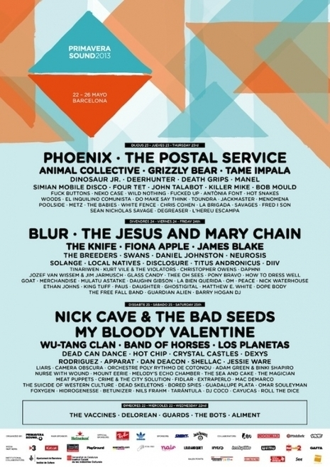 Blur, My Bloody Valentine, Wu-Tang, The Postal Service to Play Primavera Sound Festival 2013 | ...Music Festival News | Scoop.it