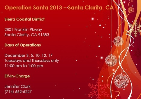 Operation Santa Participating USPS Office List 2013 – Santa Clarita | Operation Santa Claus - Santa's Blog | Christmas and Winter Holidays | Scoop.it