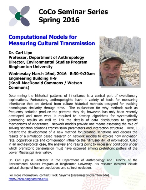 Next CoCo seminar by Carl Lipo on Wed. March 16th | Center for Collective Dynamics of Complex Systems (CoCo) | Scoop.it