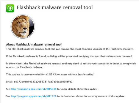 Apple releases Flashback malware removal tool, for OS X Lion only | Apple, Mac, iOS4, iPad, iPhone and (in)security... | Scoop.it