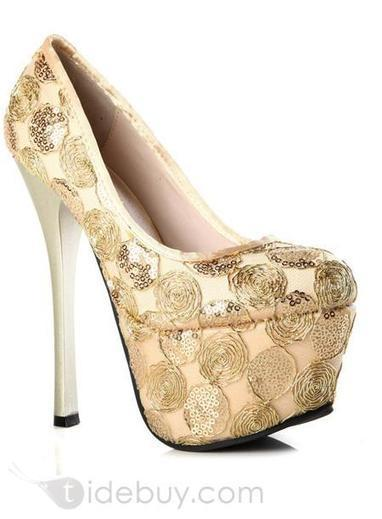 Pealike Stiletto Heels Floral Sequins Platform Euramerican Pumps | fashion | Scoop.it