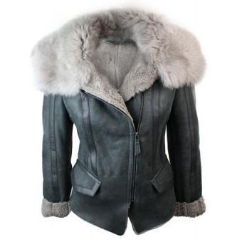 Ladies Women Short Biker Style Real Shearling Sheepskin Aviator Flying Leather Jacket Grey | Womens Clothing | Scoop.it