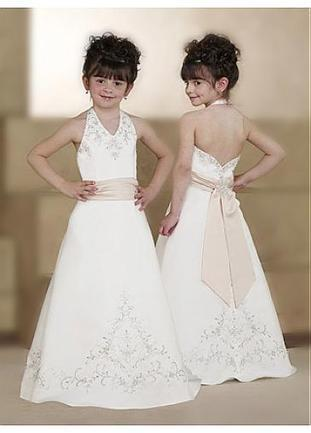 [99.99] Lovely Satin A-line Halter Flower Girls Dresses FL0092 With Embroidery and Lace Appliques - Dressilyme.com | Flower Girl Dresses | Scoop.it