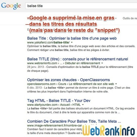 Google supprime le gras dans les titres des résultats   Stratégies SEO, référencement naturel pour les PME   Scoop.it