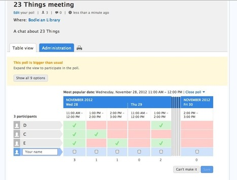 Thing 21: Using Doodle and other online scheduling tools | 23 ... | 23 Things in Medical & Health Libraries | Scoop.it