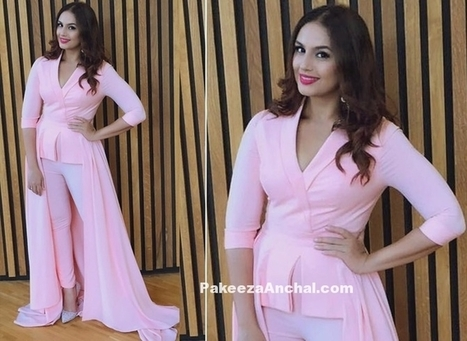 Huma Qureshi in Baby Pink outfit by Swapnil Shinde | Indian Fashion Updates | Scoop.it