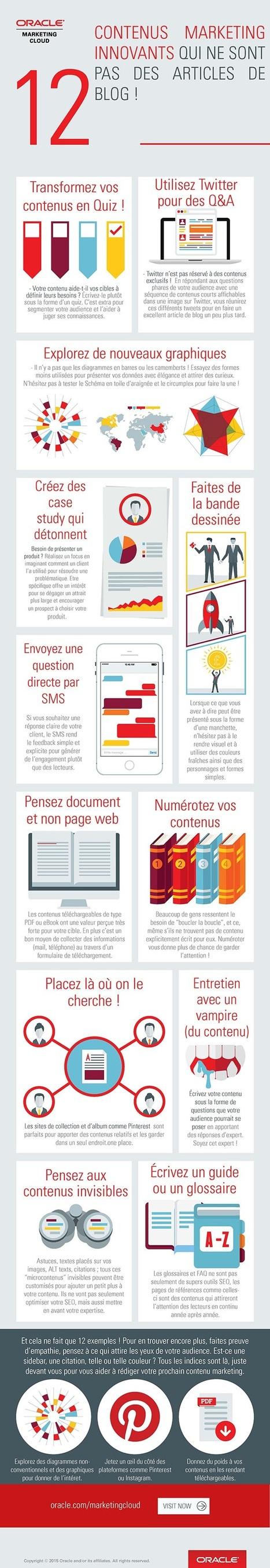 [Infographie] 12 contenus marketing innovants qui ne sont pas des articles de blog ! | Social Media Curation par Mon Habitat Web | Scoop.it