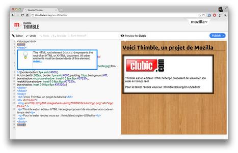 Mozilla présente Thimble, un éditeur HTML hébergé | Les Outils - Inspiration | Scoop.it