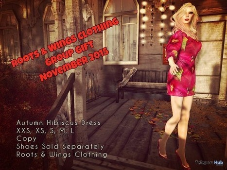 Autumn Hibiscus Dress November 2015 Group Gift by Roots & Wings | Teleport Hub - Second Life Freebies | Second Life Freebies | Scoop.it