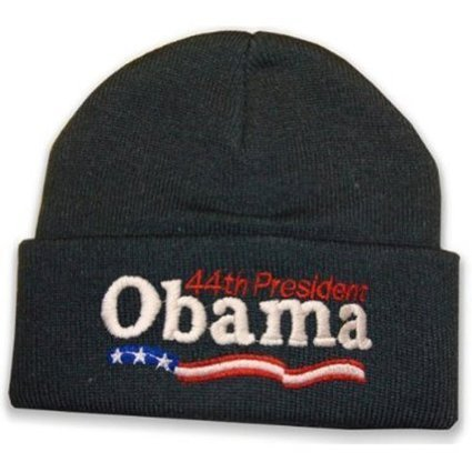 """Barack Obama """"forty fourth President"""" Knitted Beanie (Black) 