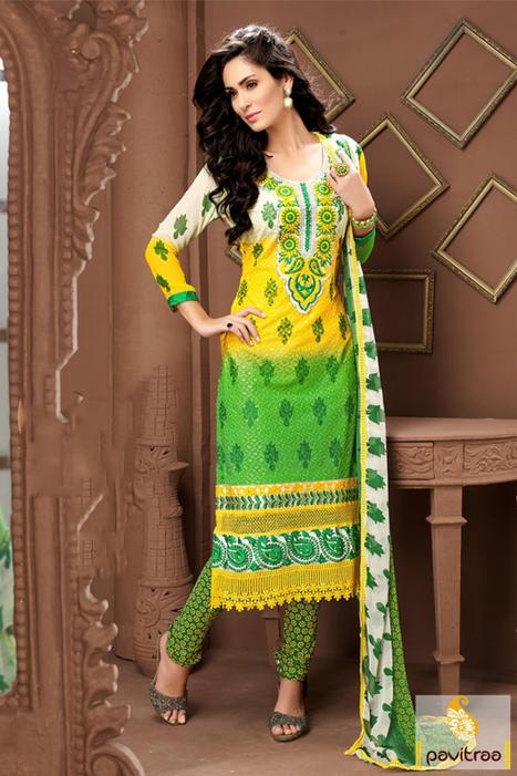 Yellow Green Georgette Santoon Party Wear Embroidery Salwar Suit   Pavitraa   Scoop.it