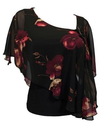 eVogues Plus size Sheer Layered Poncho Top Floral Print Black | Summer Dresses | Scoop.it