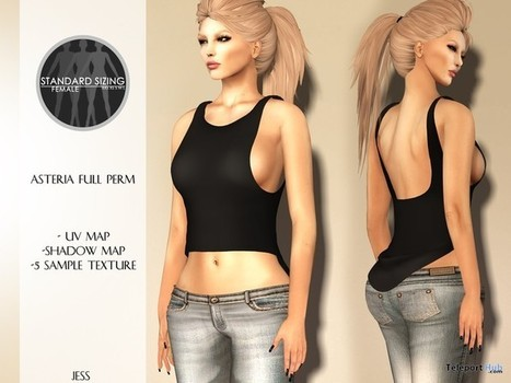 Jess Mesh Top Full Perm 1L Promo by Asteria | Teleport Hub - Second Life Freebies | Second Life Freebies | Scoop.it
