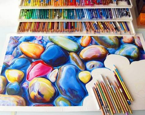 Not Your Average Drawing of a Rock: Colorful Riverbeds Drawn with Pencil by Ester Roi | Colossal | Visual art | Scoop.it